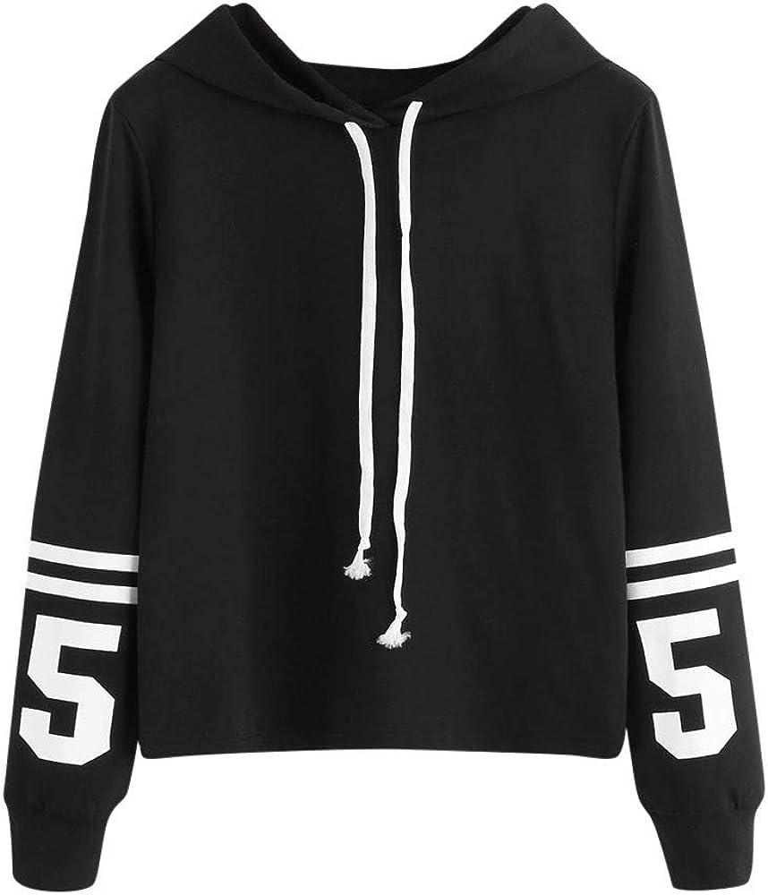 Girls' Hoodie, Misaky Pullover Sweatshirt for Teen Girls Striped Letter Print Long Sleeve Hooded Blouse