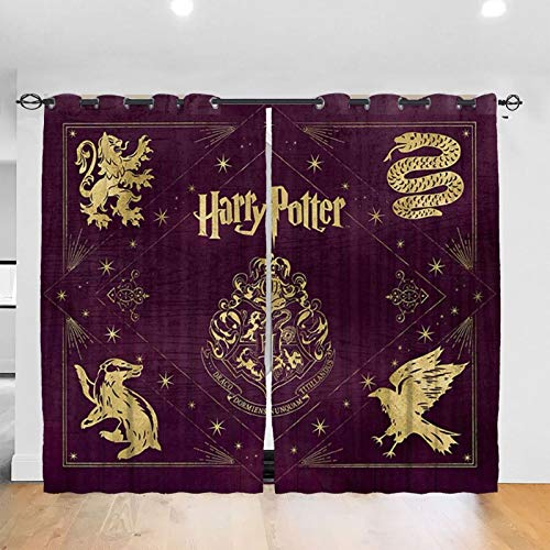 BCVDGFKJ Ha-rr-y Po-tt-er Gry-Ffindor Logo Blackout Curtains 2 Panels Noise Reducing Thermal Insulated Blackout Window Drapes Treatment for Bedroom Living Room Office 52 x 84 inch One Size