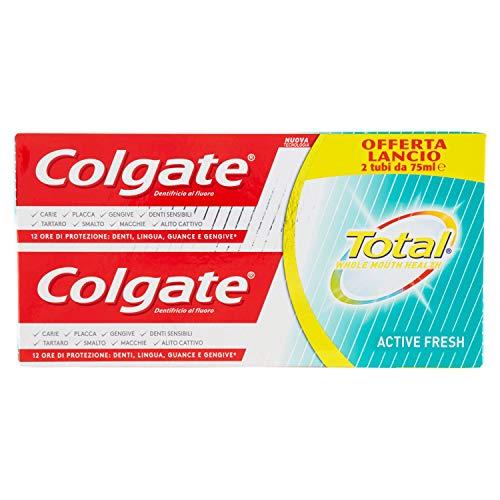 Dentifricio Colgate Total Active Fresh, con la sua tecnologia rivoluzionaria aiuta a combattere i batteri, principale causa dell'alito cattivo, maxi formato, 6 Tubi da 75 ml