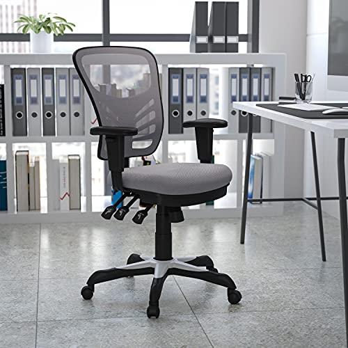 Flash Furniture Sedia da Ufficio Girevole, Multifunzione, con Schienale a Mezza Altezza, in Mesh, Ergonomica, con Braccioli Regolabili, Colore Grigio