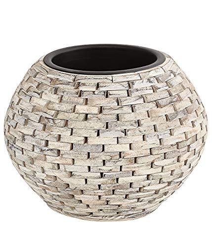 Dehner Premium Pot de Fleurs Luan avec Pot intérieur, Ø 40 cm, Hauteur 27 cm, Bois/Plastique, Beige