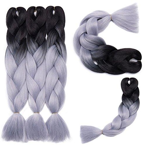 Extension Capelli Braiding Hair Jumbo Braids Ombre Pezzo di Capelli 5 Confezioni   500g - Ombre Da nero a grigio argento