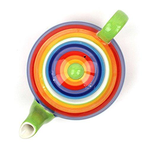 Teiera in ceramica grande per tè o caffè, con motivo ad arcobaleno multicolore