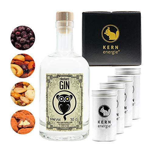 Clockers Gin Geschenkset | Clockers New Western Dry Gin Set mit Heidelbeeren und Nüssen von KERNenergie in absoluter Premium Qualität