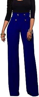 ebc858a2c3f7 FRAUIT Pantalones Anchos para Mujer Pantalón para Verano SóLido Cinturones  Casuales Cintura Alta Pantalón Largo Bellamente