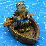 Pommerntraum ® | Schwimmtier Hippo kleines Nilpferd im Ruderboot Schwimmfigur Teichdekoration Teichfigur Gartendekoration Dekorationsfigur Gartenteich SwimmingPool Aquarium
