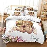 MANXI 3D Wing Angel Flower Bedding Pillowcases Quilt Duvet Cover Set Queen Size