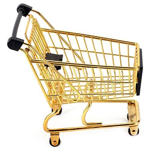 Nrpfell Kreative Einkaufswagen Aufbewahrung Box Kleines Objekt Aufbewahrung Korb Schmiedeeisen Metall Supermarkt Trolley Aufbewahrung Korb Gold
