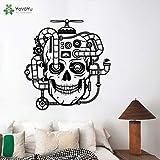 nkfrjz Mur de crâne mécanique créatif Living Room Steampunk Décoration Sticker...