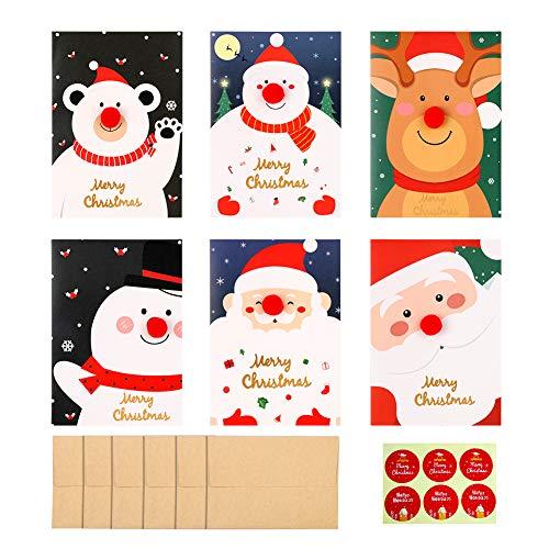 biglietti di auguri di Natale 12 Pezzi Cartoline di Natale con Buste e Adesivi, Regali Natale Decorazioni, 6 Disegni Diversi Kit 12pz Babbo Natale Biglietti di Auguri Natalizi Merry Christmas