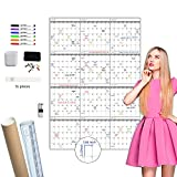 Large Dry Erase Wall Calendar - 52x36 Inches - Blank Undated Yearly Calendar - Whiteboard Premium Laminated Planner - Reusable Laminated Office Jumbo 12-Month Calendar (Vertical)