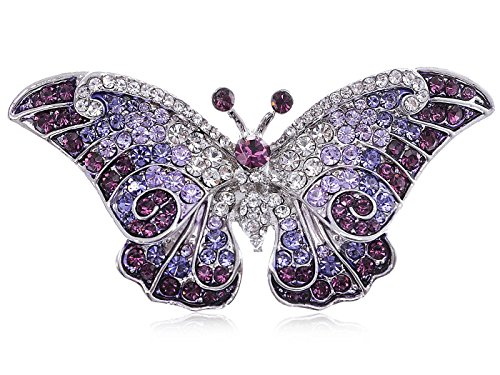 Alilang Empress Monarch Winged Butterfly Swarovski Crystal Rhinestone Brooch Pin