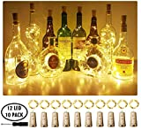 wine cork decorations - Aluan Wine Bottle Lights with Cork Christmas Lights 12 LED 10 Pack Fairy Lights Waterproof Battery Operated Cork String Lights for Jar Party Wedding Christmas Festival Bar Decoration, Warm White