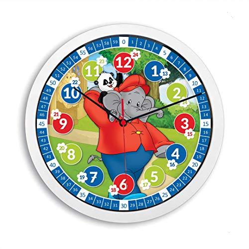 Lautlose Kinder Wanduhr Benjamin Blümchen Lernuhr Elefant Uhr für Mädchen und Jungen Kinderwanduhr 30 cm Ø (Benjamin Blümchen)