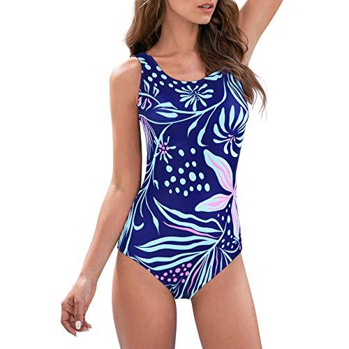 Zando Badeanzüge für Frauen, einteiliger Badeanzug, athletisches Training, Badeanzug, Bauchkontrolle, schlankmachende Bademode - - 36-38