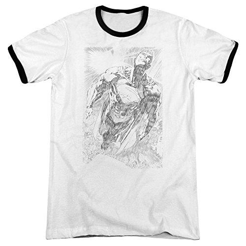 Superman Das explodierende Raum-Sketch-Wecker-T-Shirt der Männer, Large, White/Black