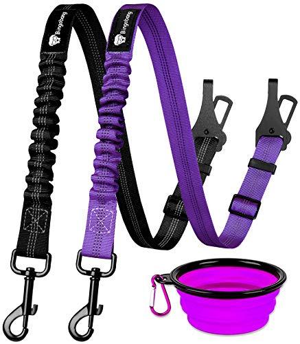 Bingobang Cinturón de seguridad para perro, 2 paquetes de arnés ajustable para mascotas y gatos, correa de seguridad con amortiguador elástico de nailon reflectante (negro y morado)