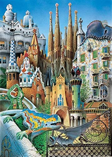 Puzzle 1000 Tablets Gaudi Buildings Forest Plants Animal Landscape Ocean Decompression