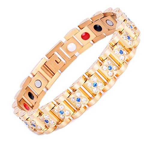 CLHCilihu Magnetisches Germanium Armband, 4 Energie Element Therapeutic Armreif mit Sparkly Diamanten für Arthritis Karpaltunnel Schmerzlinderung Damen Paar Schmuck,Gold