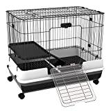 PawHut Rabbit Cage Rolling Small Animal House Bunny Habitat Pull Out Tray