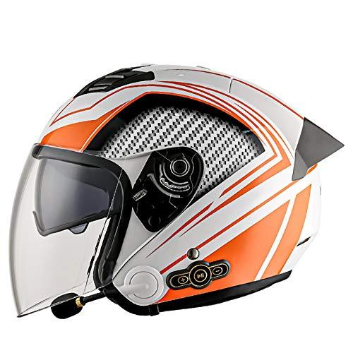Bluetooth Casco de Moto Jet,Aprobado por ECE 3/4 Casco de Moto con Visera para Mujeres y Hombres Casco de Moto Abierto para Mofa Scooter Cruiser Pilot Biker Racing Casco C,XL