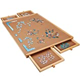 Wooden Puzzle Table/Board, for 1000 Pieces Puzzles, Making Bit and Pieces Storage Conveniently, with 4 Drawers, Perfect Choice for Gift, Party, for Both Children and Adults (29.5' 21.5')