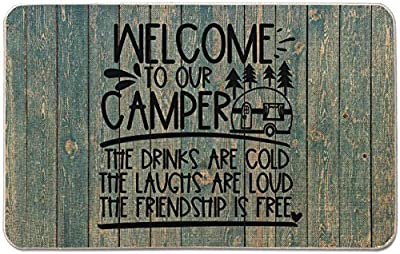 Occdesign Welcome to Our Camper The Drinks are Cold Camper Door Mat Farmhouse Rustic Decorative Camping Doormat Durable Burlap Camper Rug