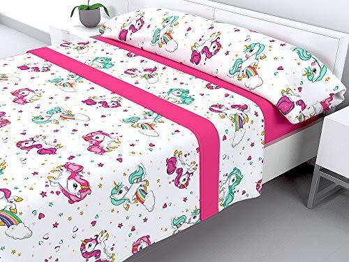Cabello Textil Hogar - Juego de sábanas Infantiles de coralina con 3 Piezas Extremadamente Suaves y cálidas Mod. Pink Magic (Cama de 105 cm (105_x_190/200 cm))
