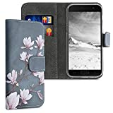 kwmobile Wallet Hülle kompatibel mit Samsung Galaxy A3 (2017) - Hülle mit Ständer Kartenfächer Magnolien Taupe Weiß Blaugrau