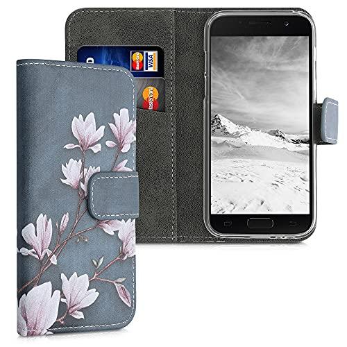 kwmobile Wallet Case kompatibel mit Samsung Galaxy A3 (2017) - Hülle mit Ständer Kartenfächer Magnolien Taupe Weiß Blaugrau
