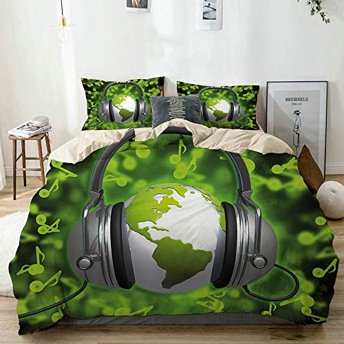 Zozun Duvet Cover Set Beige,World of Music Themed Composition DJ Headphones Musical Notes and Earth Globe, Decorative 3 Piece Bedding Set with 2 Pillow Shams