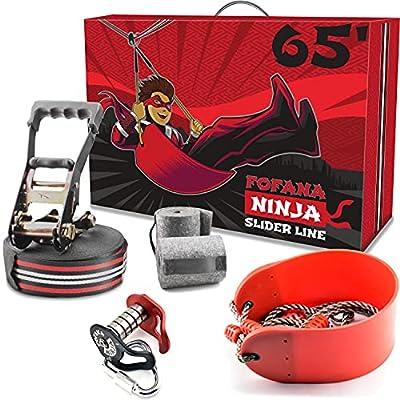 Fofana Ninja Slider Slackline Pulley Kit - 65 Ft. Slack Line Zip Ninja Course - Includes Slackline, Slider Pulley, and Swing - Ninja Warrior Obstacle Course for Kids - Sports & Outdoor Play Toys by Fofana
