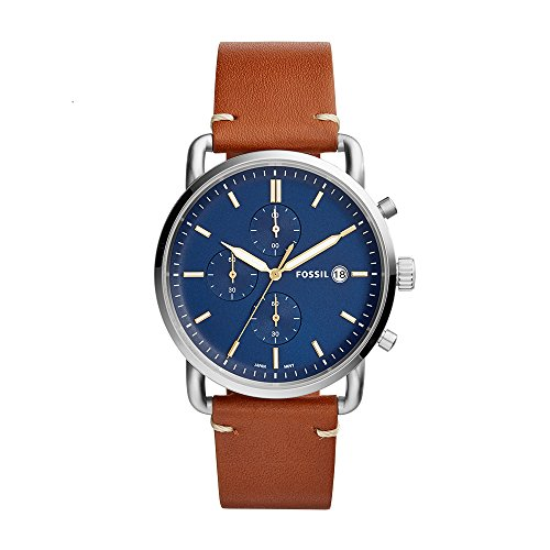 Fossil Men's The Commuter Quartz Chronograph Leather Watch, Color: Silver, Brown, 22 (Model: FS5401)