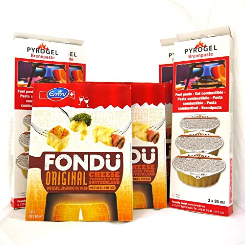 Fondue de queso y combustible 4 Pack – 4 x Emmi Suiza Queso (400g) y 4 x brennpaste Gel Combustible (3 x 95 ml)