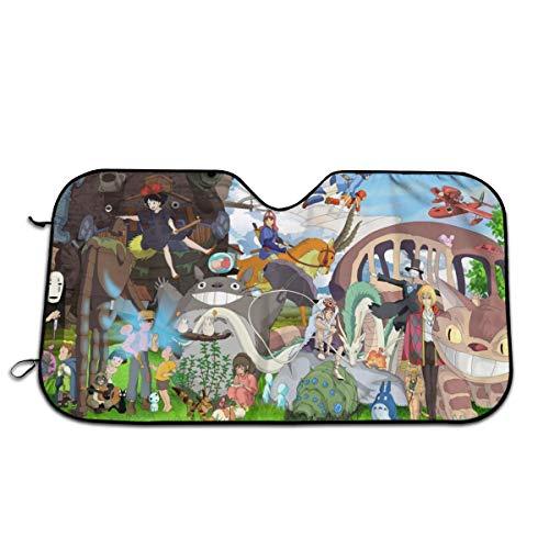 PHFCZJ Studio Ghibli Anime Movie Auto Windshield Sunshade,Car Sun Shades,UV Protect,Foldable Auto Window Sunshade,Universal Fit for Car Auto Sedan Truck SUV
