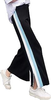 [ヤンーチ] レディース ガウチョパンツ ゆったり 大きいサイズ スリム オシャレ 綿 ストレッチ カジュアル ロング ハイウェスト スリット 春服 秋服 通学 通勤 ファッション