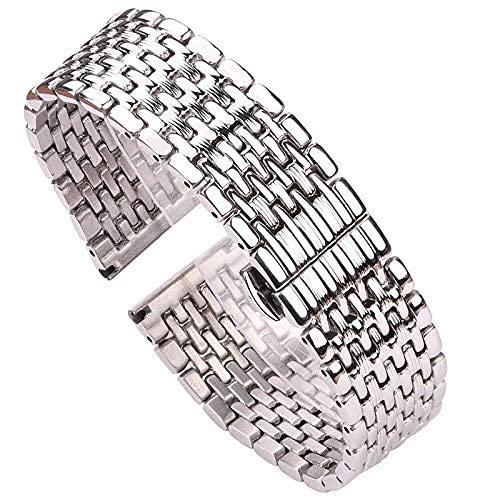 TSYGHP Pulsera de reloj de 16 mm, 18 mm, 20 mm, 22 mm, acero inoxidable plateado, correa de reloj de pulsera para mujeres, hombres, accesorios de correa de reloj (color: plata, tamaño: 16 mm)
