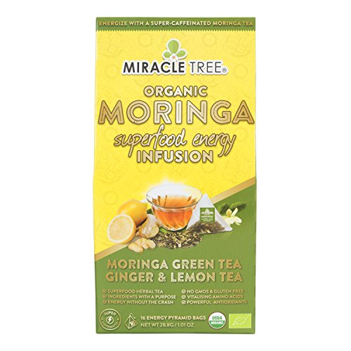 Miracle Tree's Energizing Moringa Infusion - Green Tea with Ginger & Lemon | Super Caffeinated Blend | Healthy Coffee Alternative, Perfect for Focus | Organic Certified & Non-GMO | 16 Pyramid Sachets