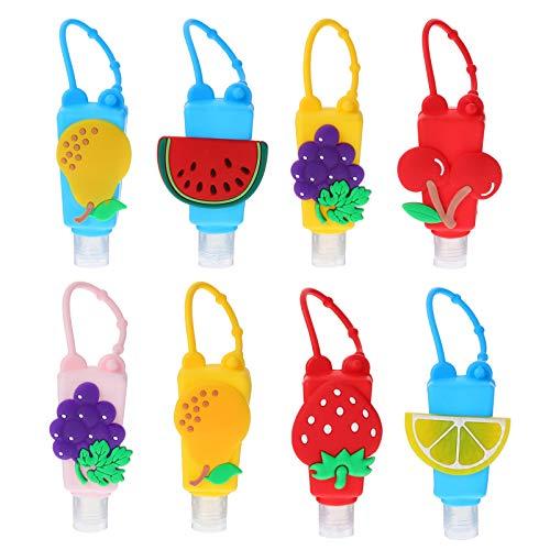 Cabilock 8 Stücke Silikon Reiseflaschen Schlüsselanhänger mit Obst Hülle 30ml Flip Cap Flasche Weihnachten Mitgebsel Leere Seifenspender Nachfüllbare Duschgel Reisebehälter für Shampoo Handgel Parfüm