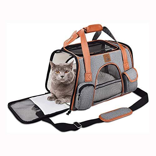 CHANNA Bolsa de Viaje de Mochila portadora de Mascotas - Canasta de Bicicleta Plegable Portador de Caras Suaves con Grandes Bolsillos para Perros y Gatos ⭐