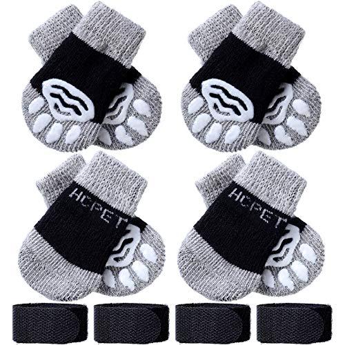 Frienda 8 Pieces Pet Knit Socks Anti-Slip Dog Cat Socks Adjustable Paw Protector for Small Puppies...