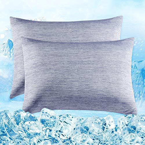 Elegear 2er Kühlender Kissenbezug Schont Haut und Haare Kopfkissenbezug - Duales Design Kissenhülle mit Premium Japanische Arc-Chill Seidige Kühlfaser Atmungsaktiv Weichdünn Kissenbezüge Blau 50x75cm