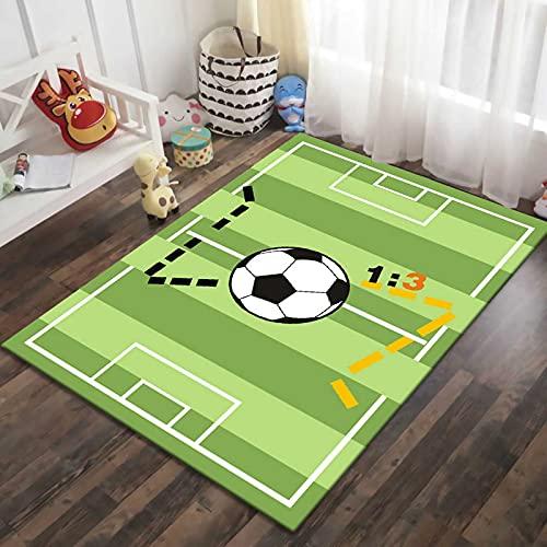 XQKXHZ Alfombra De Jeugos para Niños Alfombras Antideslizantes De Color Verde Suave para Dormitorio De Niñas Alfombra De Área De Campo De Fútbol para Sala De Juegos,50x180cm