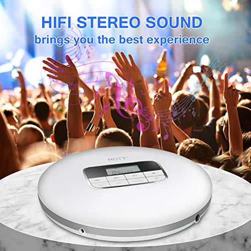 HOTT CD511 Portable CD Player, Personal Compact CD Player with Headphones, Anti-Skip/Shockproof for Home Travel and Car, Small Music CD Walkman Discman with LCD Display for Adults Students Kids-Silver