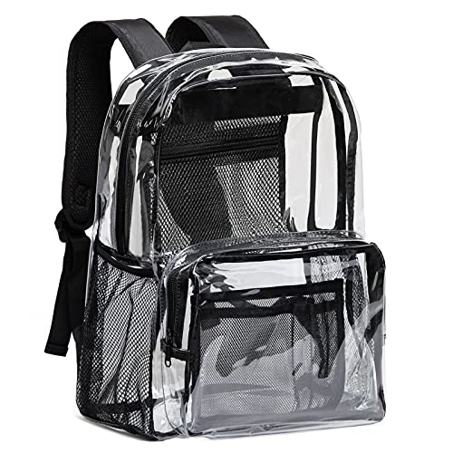 Vorspack Clear Backpack Heavy Duty PVC Transparent Backpack with Reinforced Strap & Large Capacity for College Workplace Security - Black