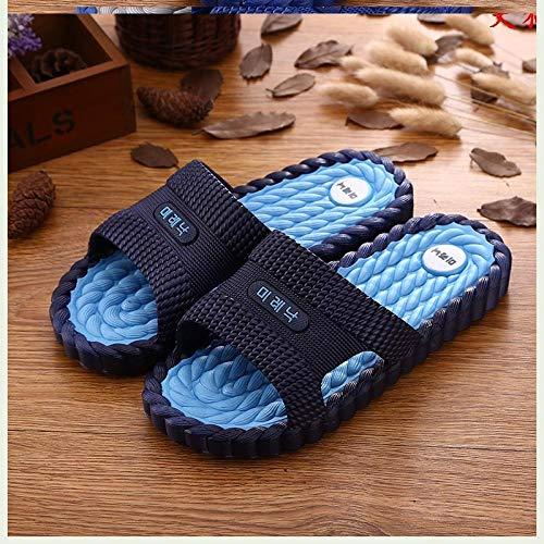 RSVT Unisex Adulto Zapatillas de baño,Chanclas de Masaje de Fondo Suave, Pantuflas de plástico Desodorante para el hogar-Azul Oscuro_40,Zapatillas cómodas portátiles