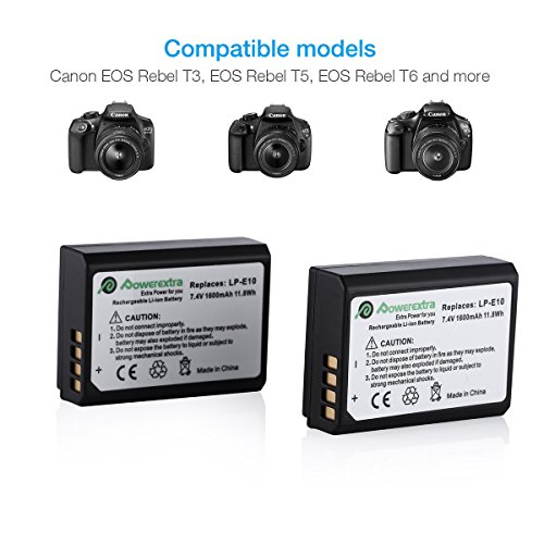 Powerextra 2 Pack LP-E10 Batteries and Charger Replacement for Canon EOS Rebel T3, T5, T6, T7, Kiss X50, Kiss X70, EOS 1100D, EOS 1200D, EOS 1300D, EOS 2000D, EOS 1500D Digital Cameras