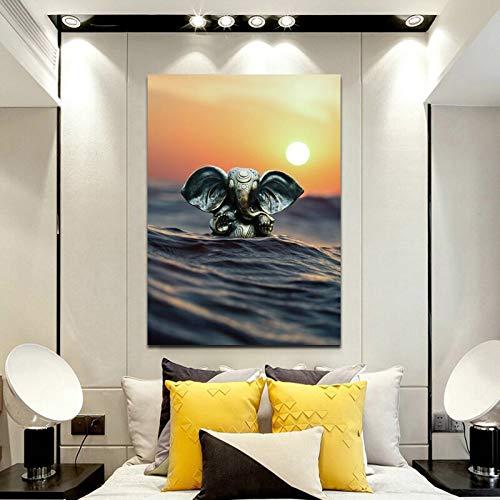 wZUN Cartel de Dios Elefante Indio Moderno y Grabado Mural Arte Lienzo Pintura Dios Sala de Estar decoración del hogar Pintura 50x70cm