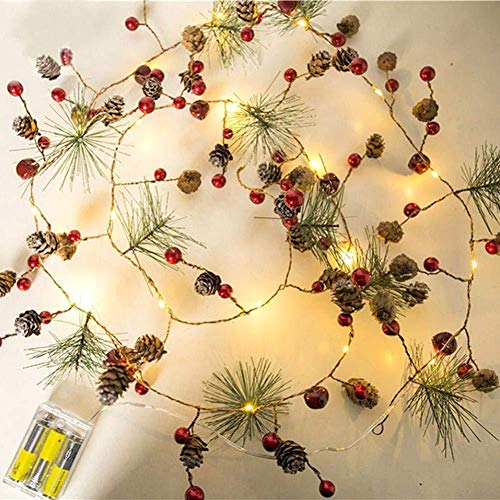 Apofly String Lights, Christmas Decoration Christmas Garland LED Lighted Mini Pine Cone Garland with Red Berries for Christmas Gifts Wedding Party
