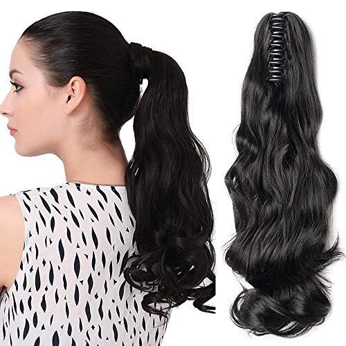 Ponytail Extension Pferdeschwanz Haarteil Haarverlängerung Zopf Hair Piece Haar Voluminös Wavy wie Echthaar Schwarz Gewellt-18